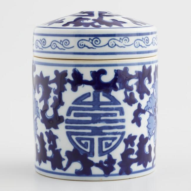 Blue and White Porcelain Tea Canister
