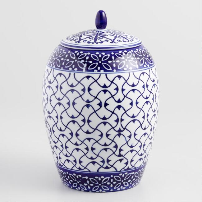 Blue and White Round Porcelain Container