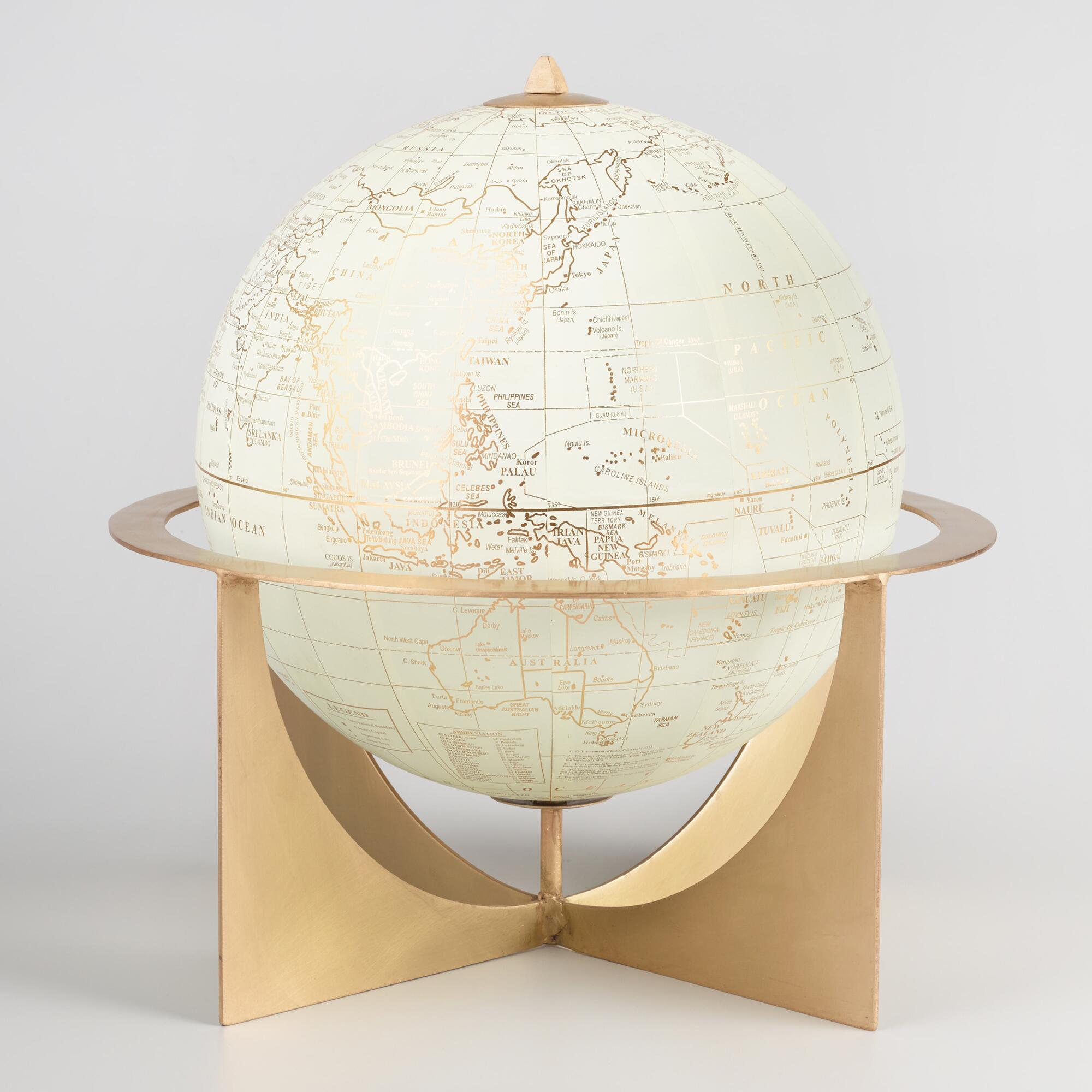 White and Brass Metal Globe: Metallic/Gold by World Market