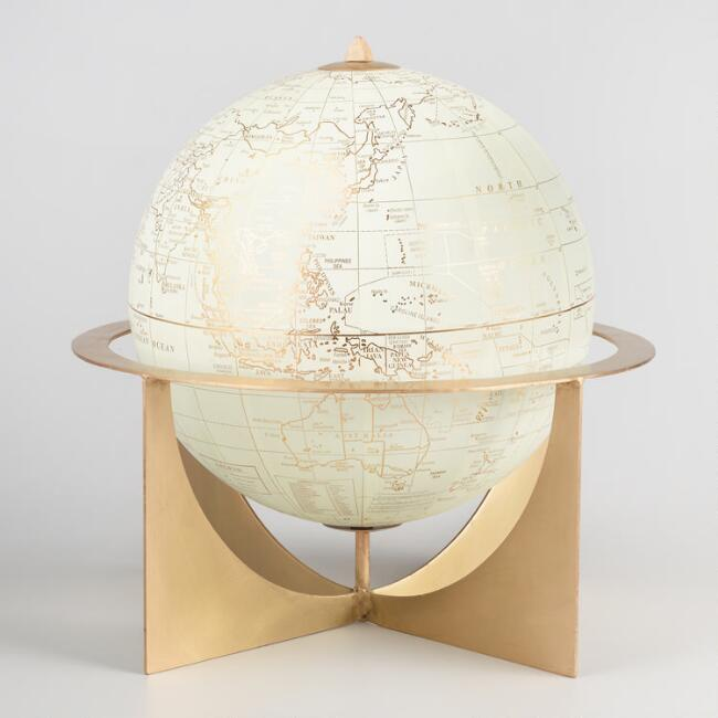 White and Brass Metal Globe