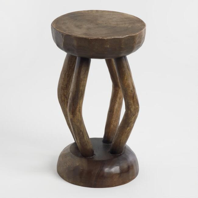 Tribal Carved Wood 4 Leg Stool
