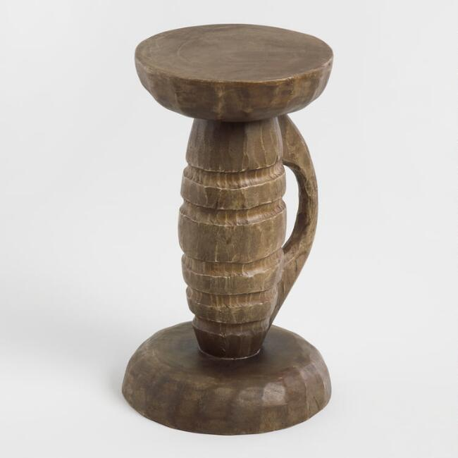 Tribal Circles Carved Wood Stool
