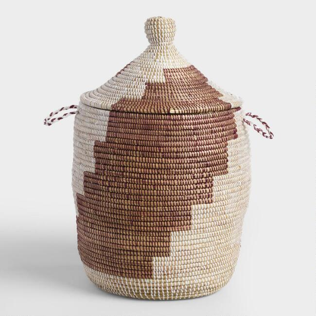 Small Brown and White Senegalese Lidded Basket