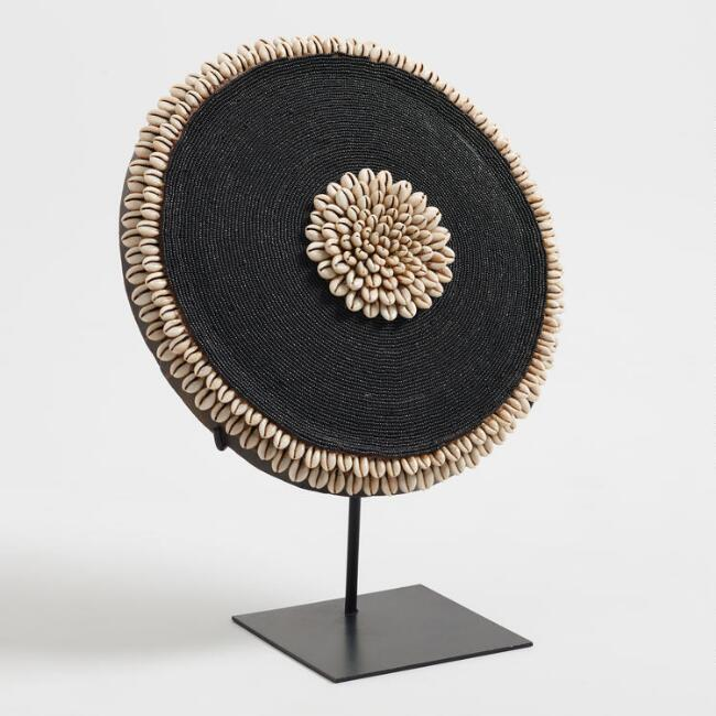 Wood and Bead Shield on Stand Decor