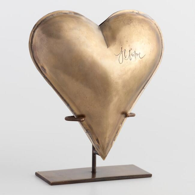 Brass Je T'aime Heart on Stand Decor