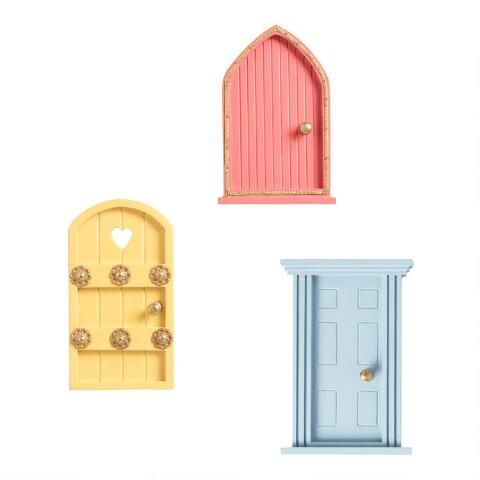 Painted Wood Fairy Doors Set of 3