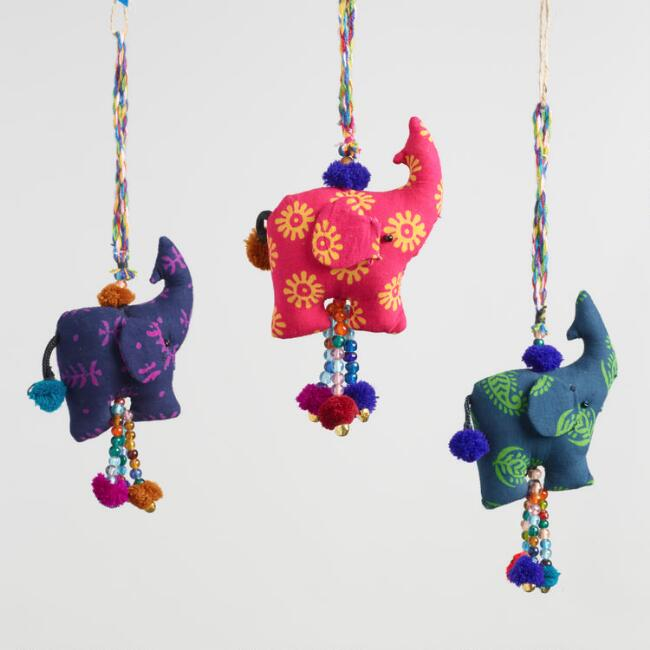 Fabric Elephant Hanging Decor with Tassels Set of 3