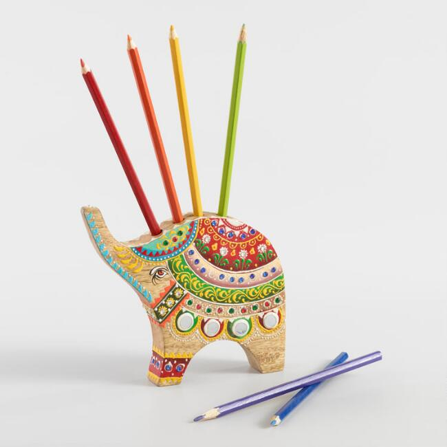 Painted Wood Elephant with Colored Pencils