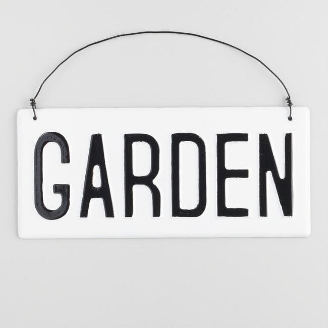 Black and White Metal Garden Sign Wall Decor