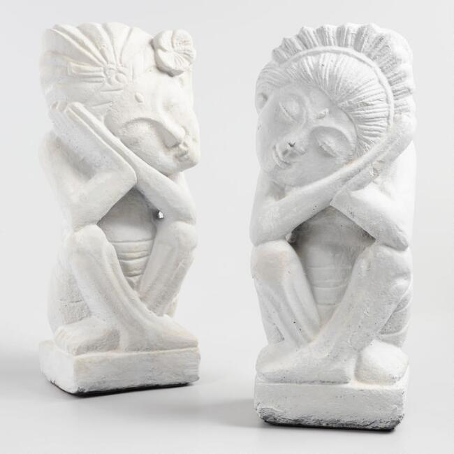 Sandstone Balinese Couple Figures Set of 2