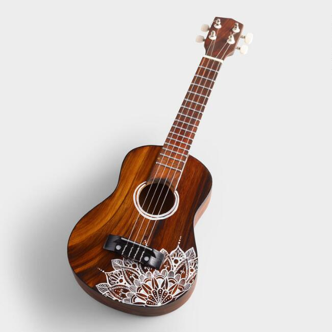 Wood Ukulele with Mandala Design