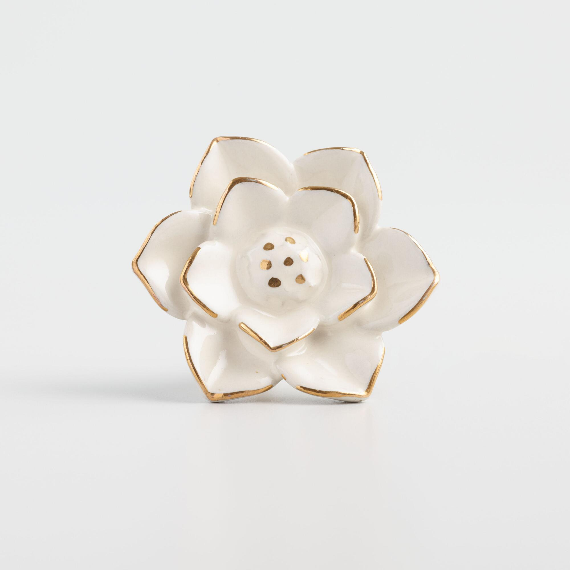 White and Gold Ceramic Flower Knobs Set of 2 by World Market