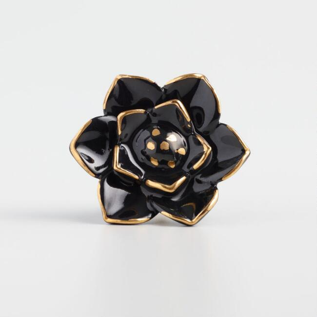 Black and Gold Ceramic Flower Knobs Set of 2