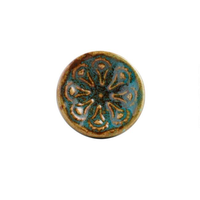 Teal Ceramic Floral Knobs Set of 2