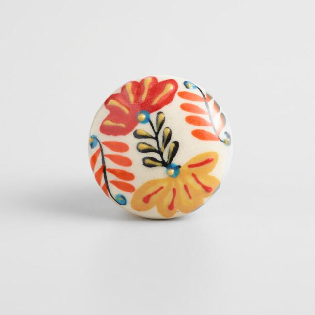 Red and Orange Floral Ceramic Knobs Set of 2