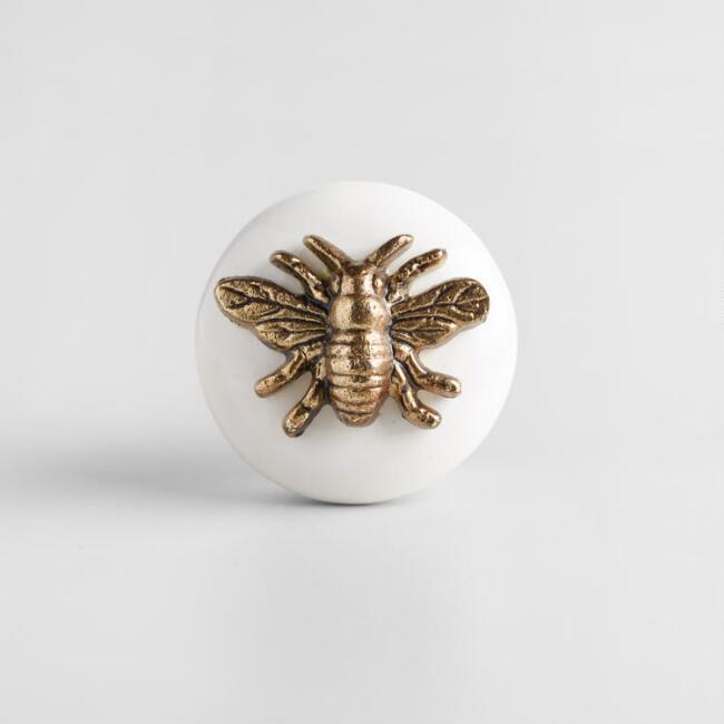 Ceramic and Brass Bee Knobs Set of 2