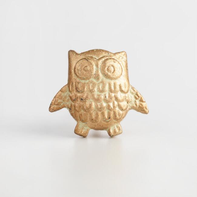 Gold Owl Knobs Set of 2