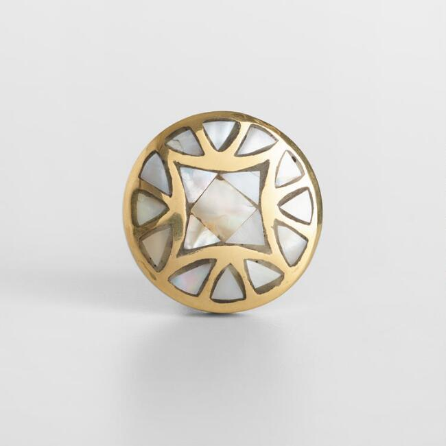 Gold and Mother of Pearl Knobs Set of 2
