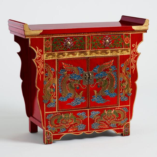 Red Wood Dragon Cabinet