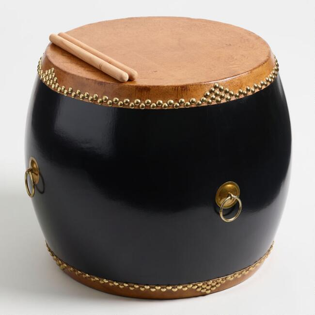 Black Chinese Hall Drum Side Table