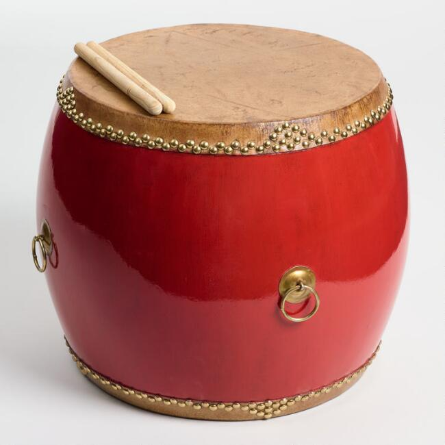 Red Chinese Hall Drum Side Table