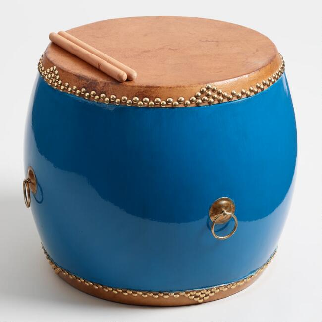 Blue Chinese Hall Drum Side Table