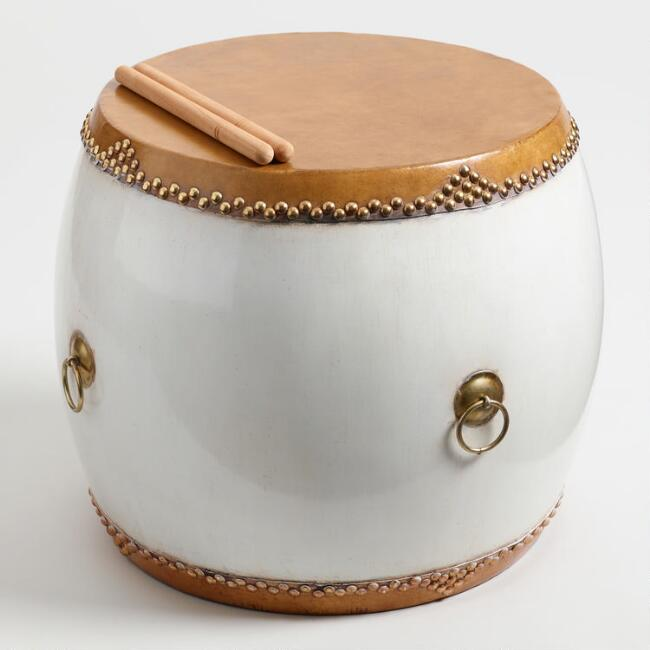White Chinese Hall Drum Side Table