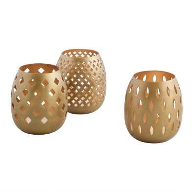 Gold Pierced Tealight Candleholders Set of 3