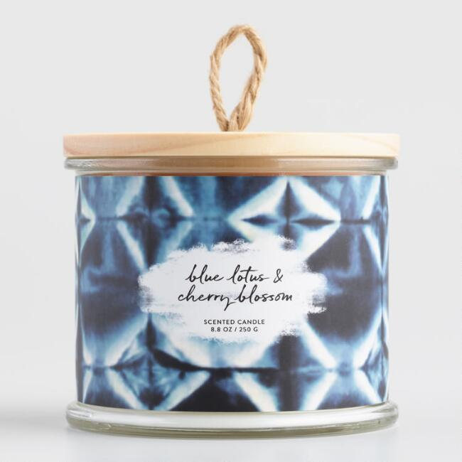 Shibori Blue Lotus Lidded Jar Candle