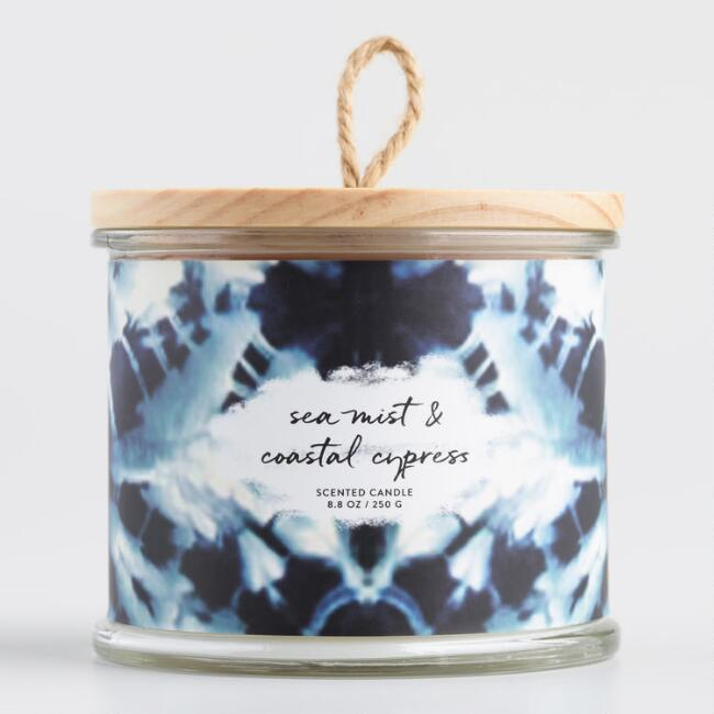 Shibori Sea Mist and Coastal Cypress Lidded Jar Candle
