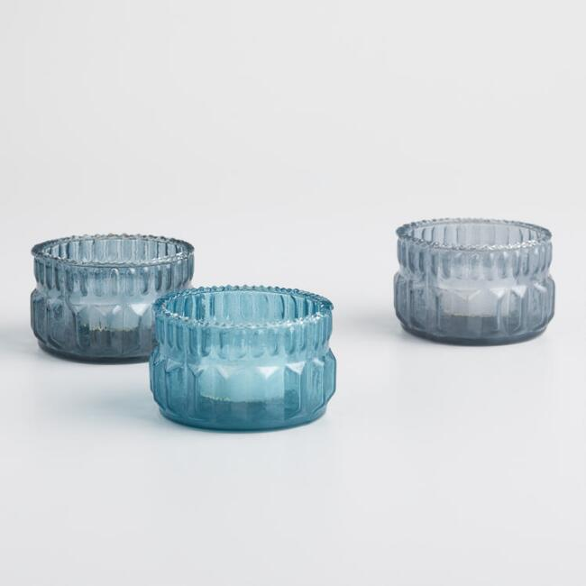 Short Textured Indigo Tealight Candleholders Set of 3