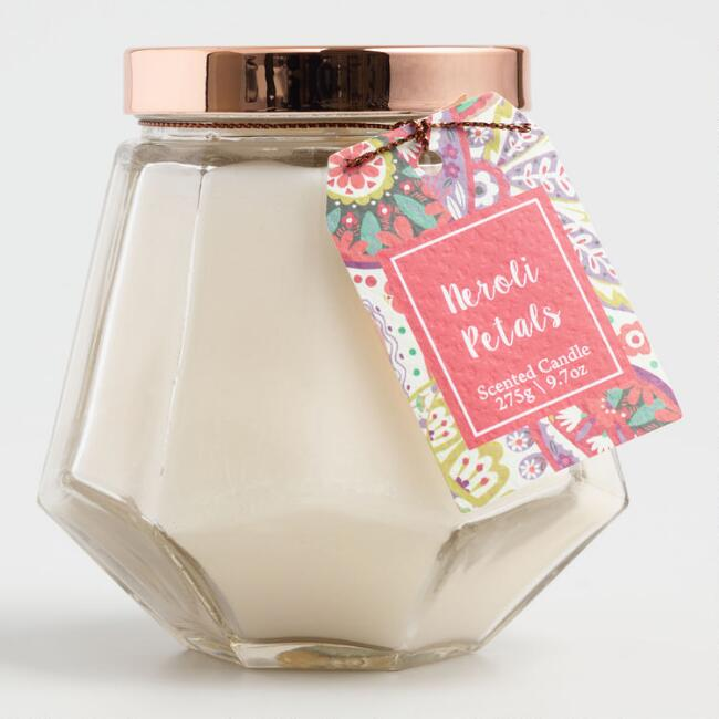 Neroli Petals Paisley Glass Jar Candle