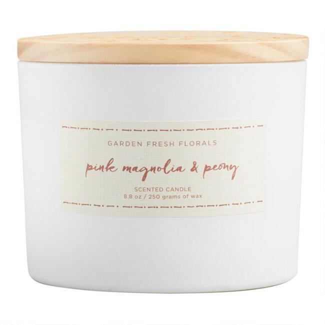 Pink Magnolia & Peony Floral Lid Scented Candle