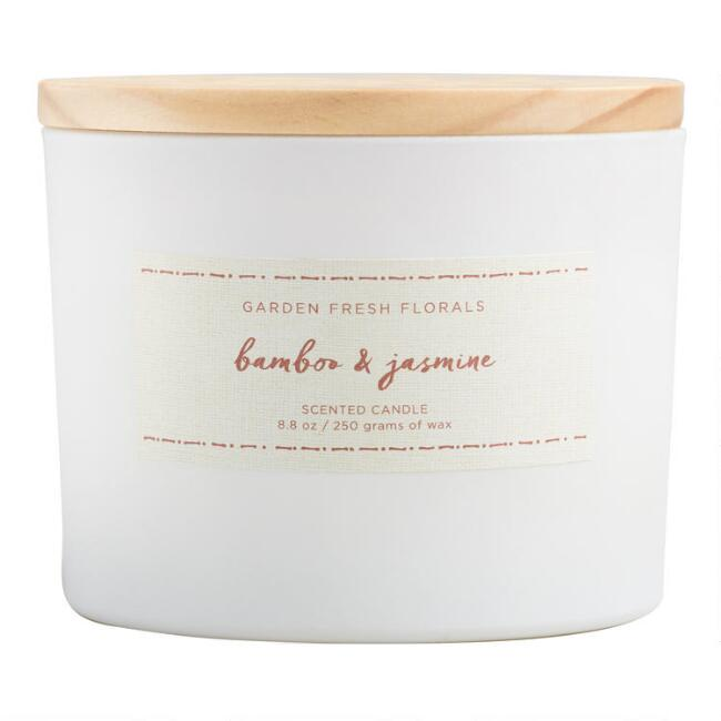 Bamboo and Jasmine Floral Lid Jar Candle