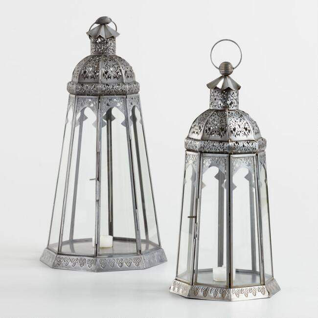 Antique Zinc Indian Tabletop Lantern