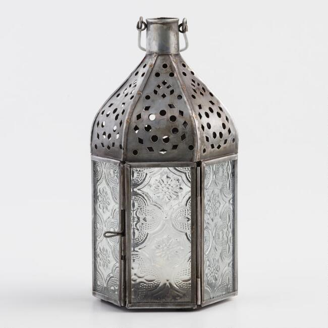 Small Clear Embossed Glass Tabletop Lantern