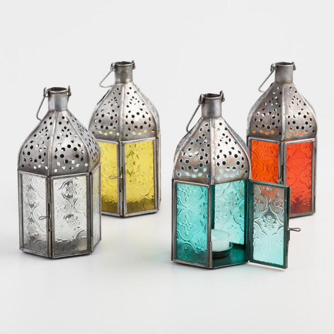 Small Embossed Glass Tabletop Lantern Collection
