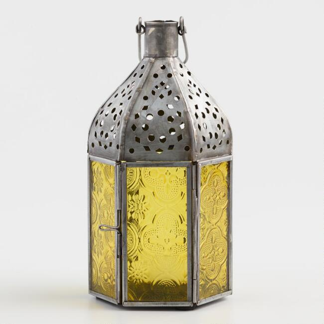 Small Yellow Embossed Glass Tabletop Lantern