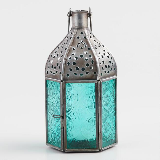 Small Jade Green Embossed Glass Tabletop Lantern