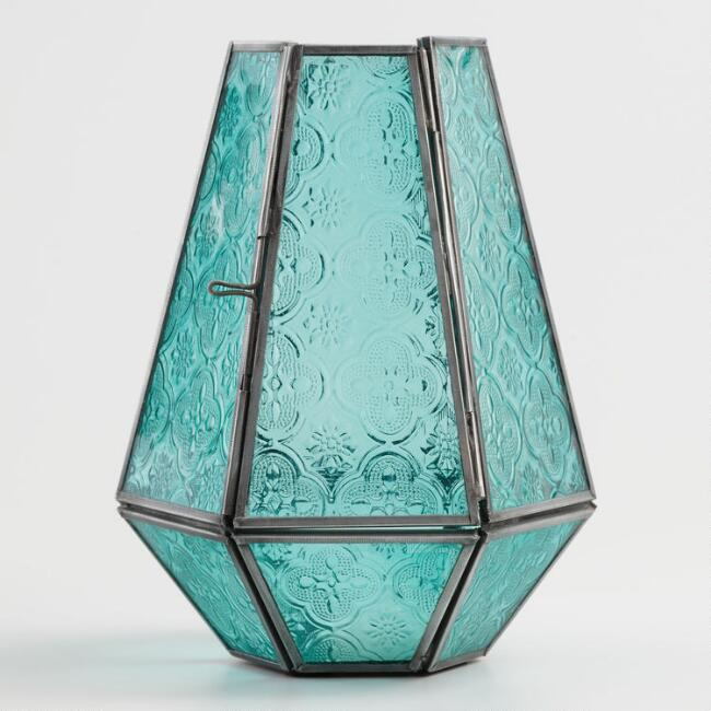 Jade Green Embossed Glass Hurricane Candleholder