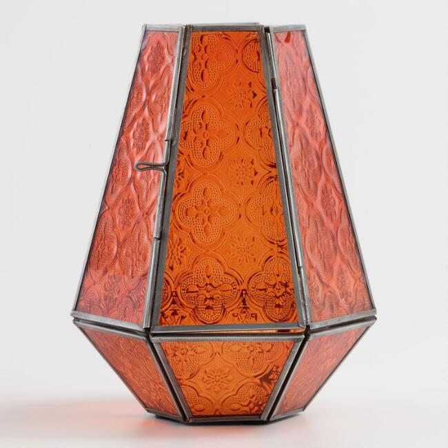 Orange Embossed Glass Hurricane Candleholder