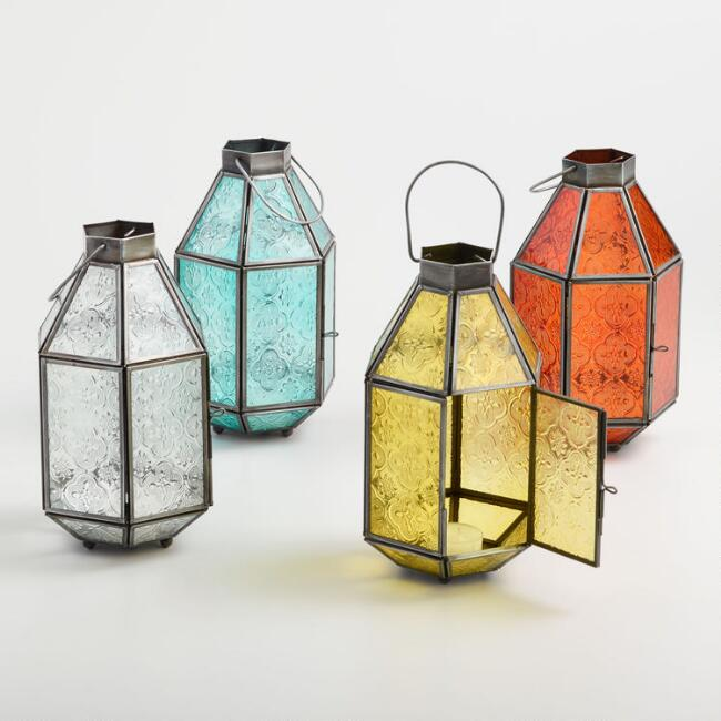 Medium Embossed Glass Tabletop Lantern Collection