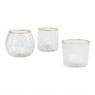 Gold Rimmed Glass Tealight Candleholders Set of 3