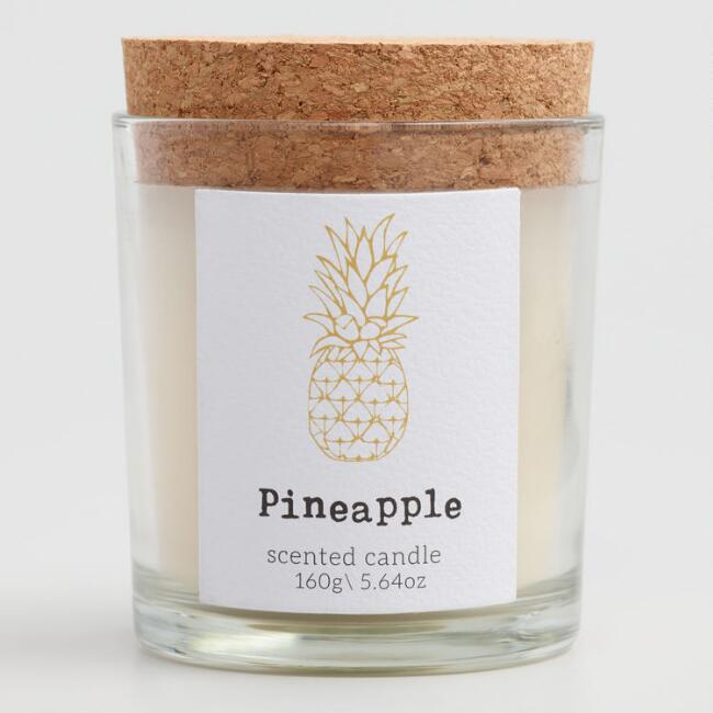 Pineapple Cork Top Filled Jar Candle