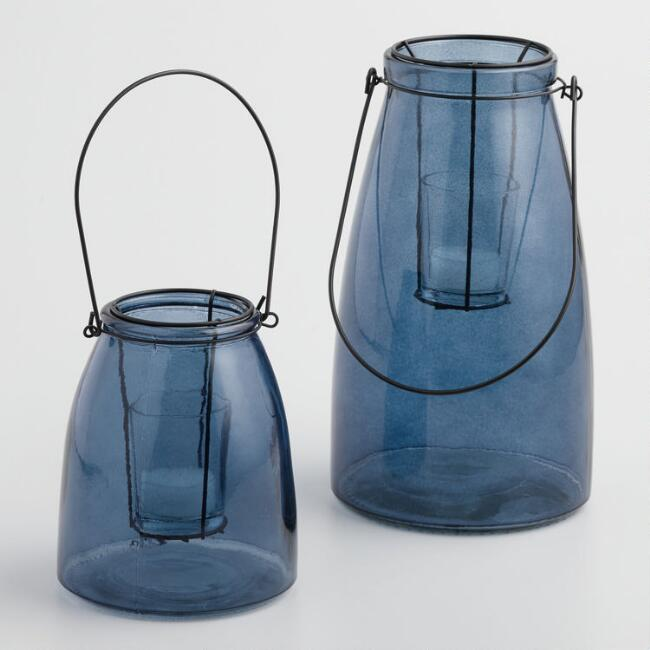Blue Glass Cheyenne Lantern