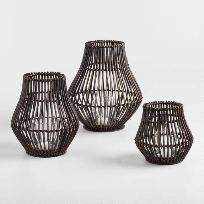 Dark Brown Rattan Bulb Hurricane Candleholder