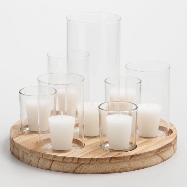 Round Wood Votive Centerpiece Candleholder