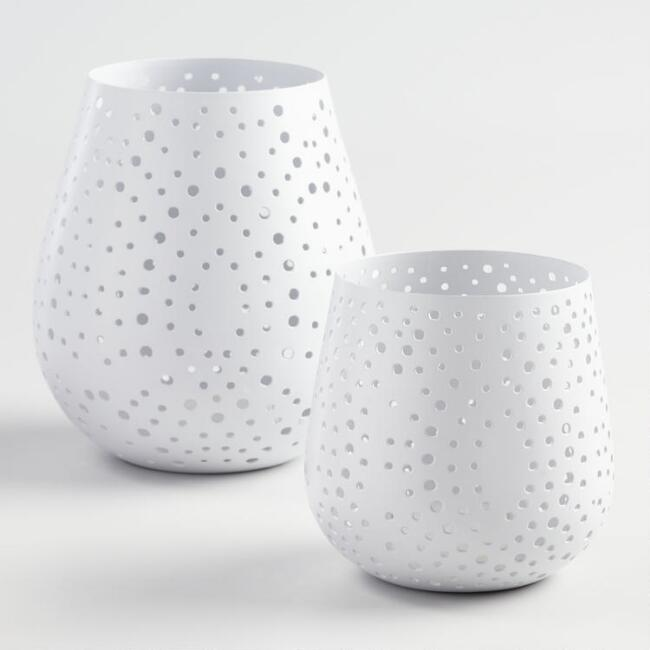 White Conical Pierced Dot Hurricane Candleholder