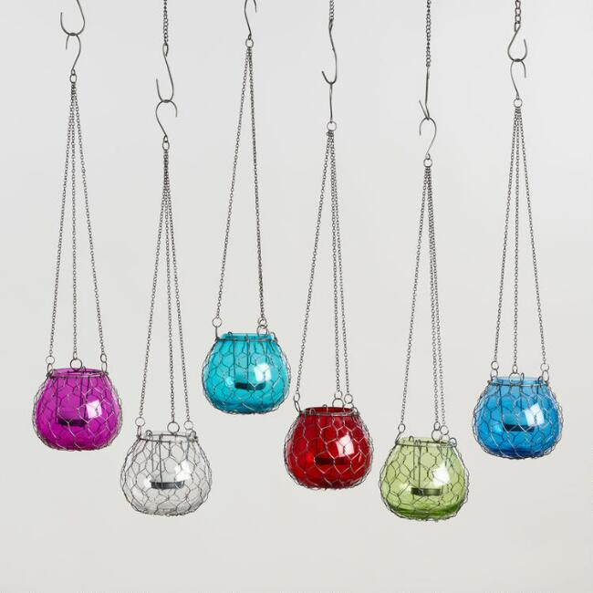 Wire Wrapped Mini Hanging Lanterns Set of 6