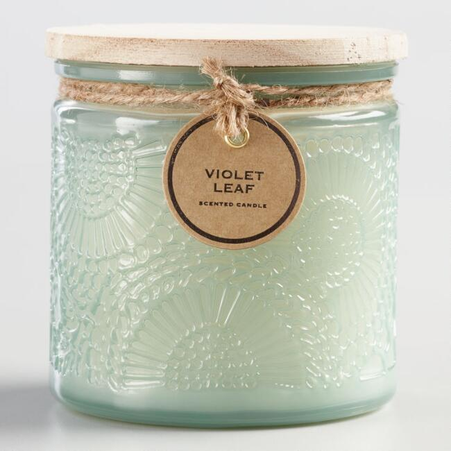 Violet Leaf Wood Lid Milk Glass Filled Jar Candle